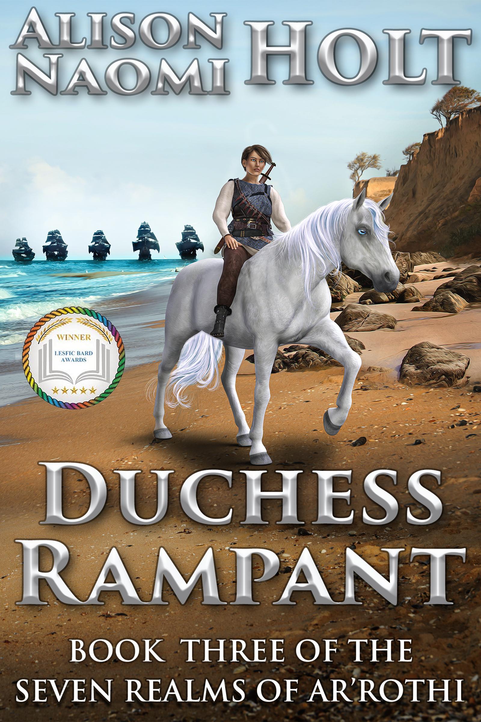 Duchess on White horse on beach